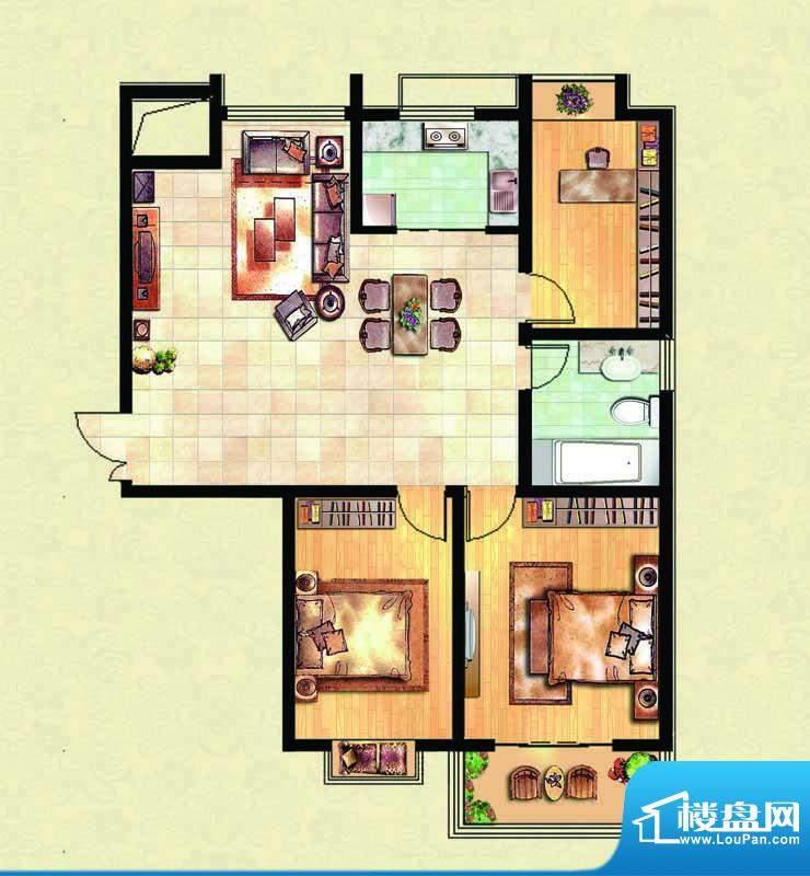 千里壹家园1#楼户型面积:123.81m平米