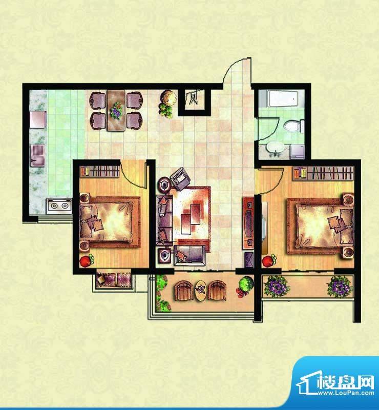 千里壹家园1#楼户型面积:86.74m平米