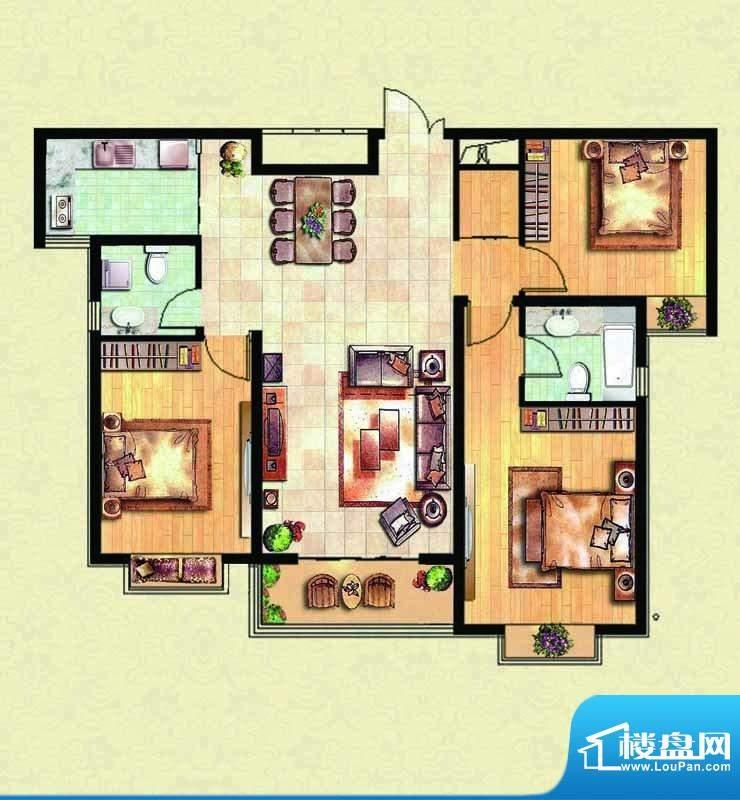 千里壹家园1#楼户型面积:135.78m平米