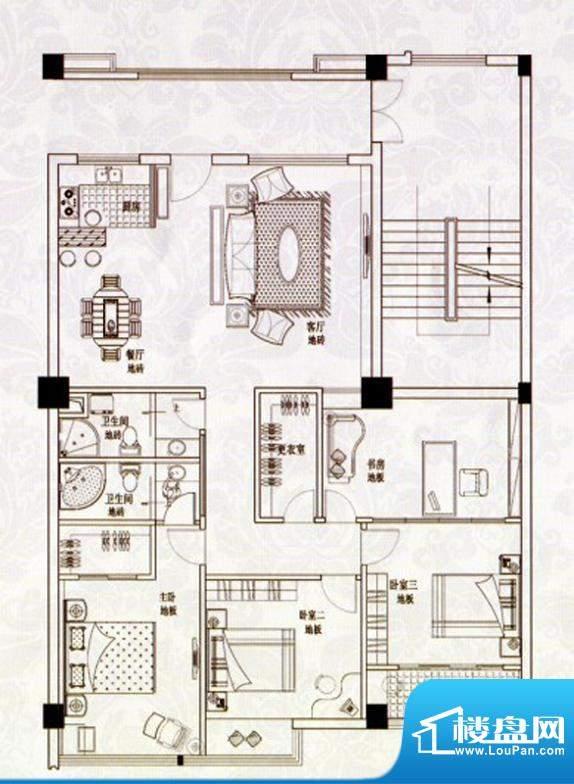 苹果假日E户型 4室2面积:140.00m平米