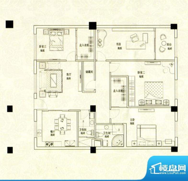苹果假日D户型 3室2面积:118.00m平米