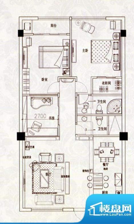 苹果假日C户型 3室2面积:93.00m平米