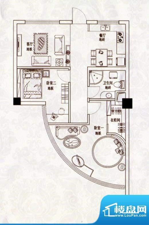 苹果假日B户型 2室2面积:82.00m平米