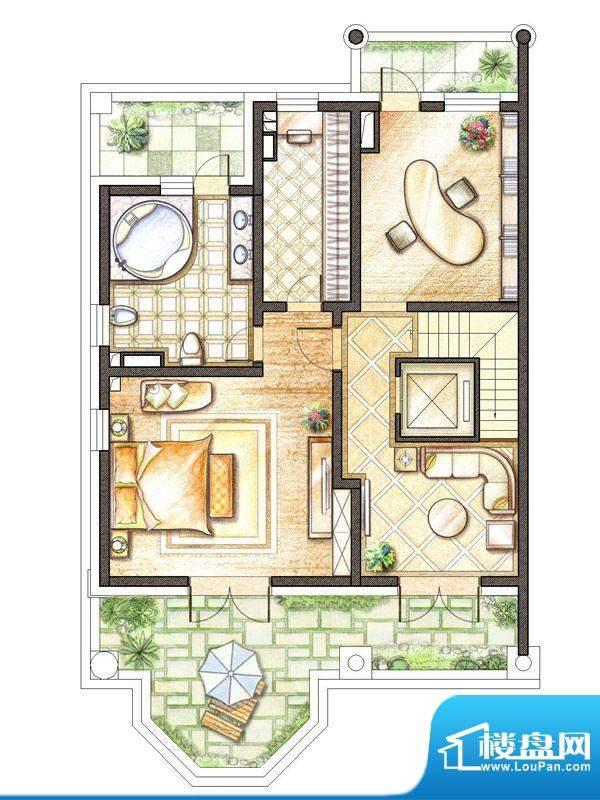 御苑皇室版D户型地上面积:96.00m平米