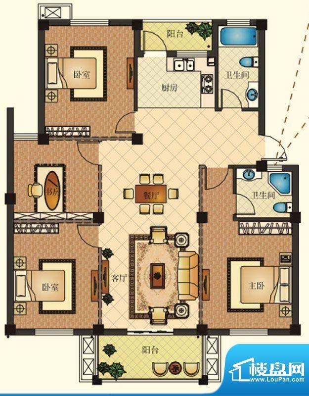 兴马—经典公寓G3户面积:141.42m平米