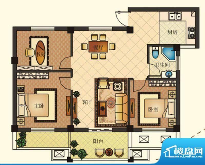 兴马—经典公寓G4户面积:89.53m平米
