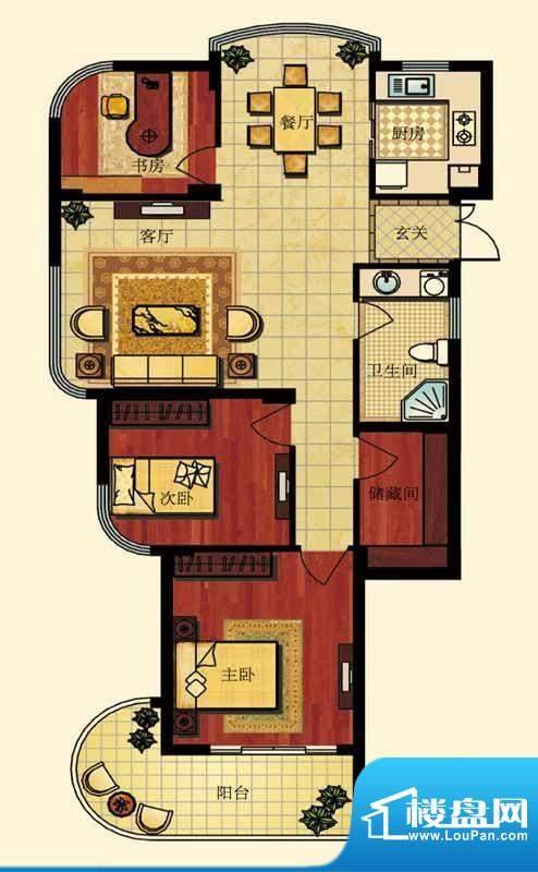 长岛府O户型 3室2厅面积:0.00m平米