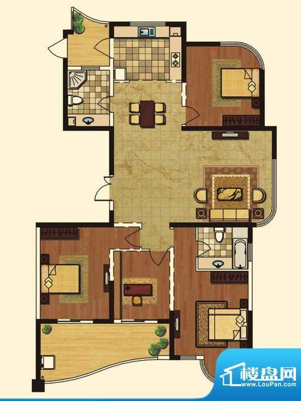 长岛府M户型 4室2厅面积:182.00m平米