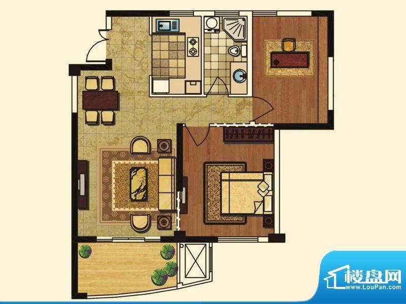 长岛府B、Q户型 2室面积:90.00m平米