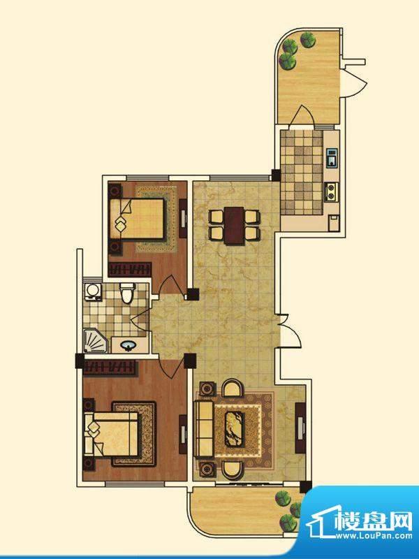 长岛府K户型 2室2厅面积:117.00m平米