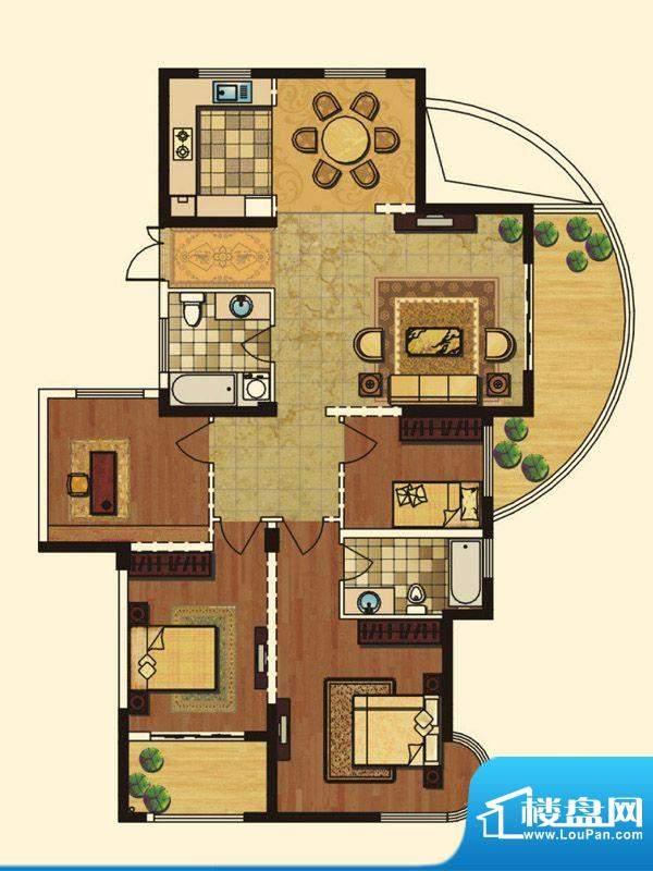 长岛府H户型 4室2厅面积:164.00m平米