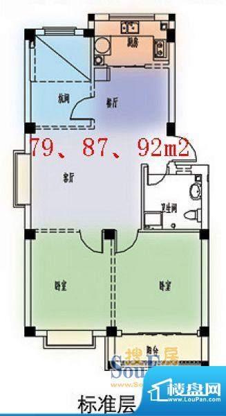 西城花园多层标准层面积:79.00平米