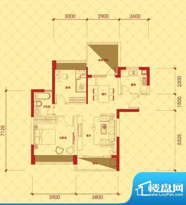 金桂华府3栋标准层东面积:95.84平米