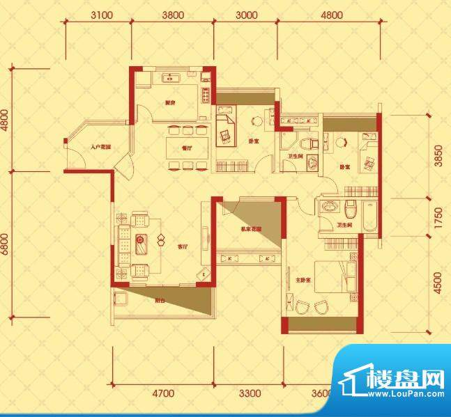 金桂华府3栋标准层奢面积:133.85平米