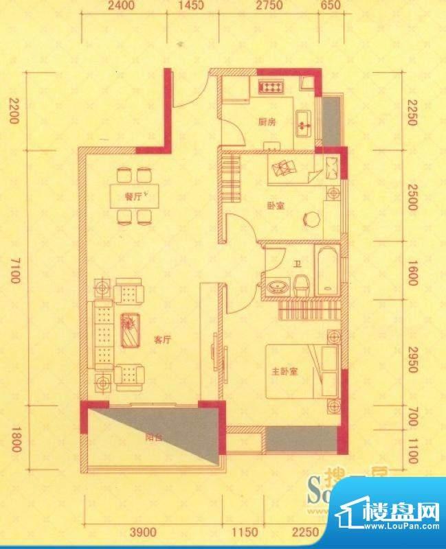 金桂华府3号楼标准层面积:80.00平米