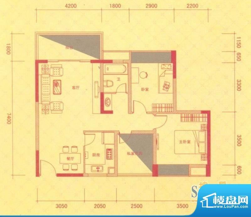 金桂华府3号楼标准层面积:88.00平米