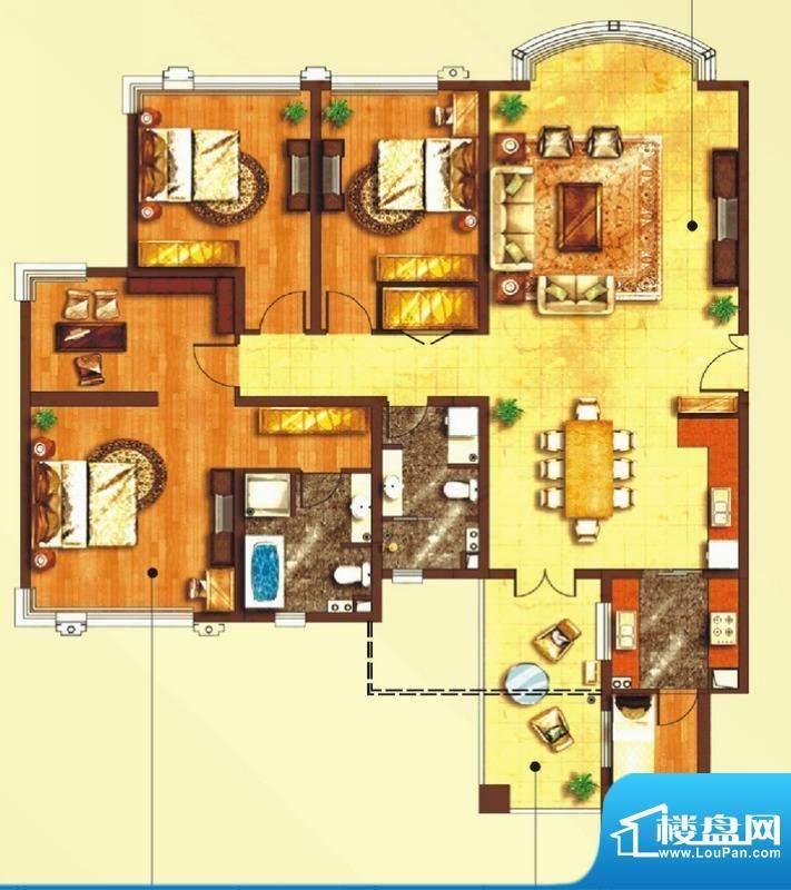 东上海赋B1户型图 3面积:204.60平米
