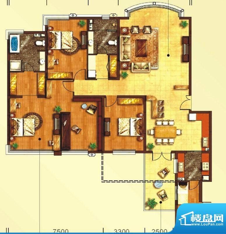 东上海赋A1户型图 3面积:228.97平米