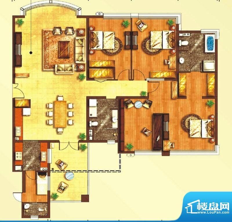 东上海赋A2户型图 3面积:228.04平米
