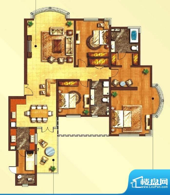 东上海赋B2户型图 3面积:207.99平米