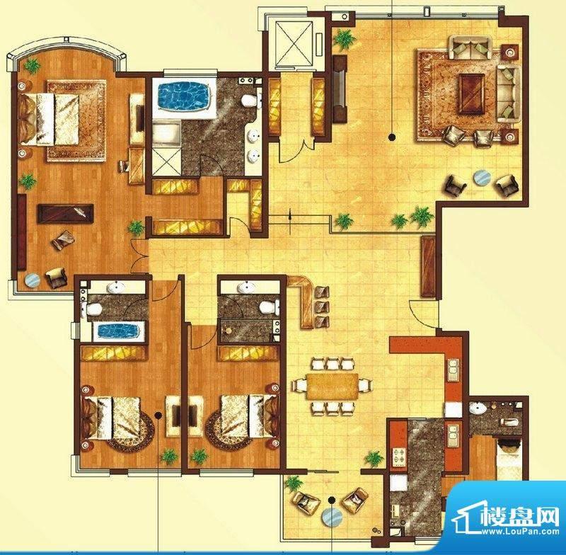 东上海赋C1户型图 3面积:283.79平米