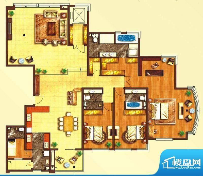 东上海赋C2户型图 3面积:297.53平米
