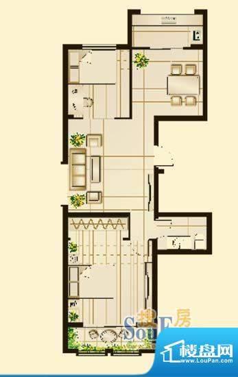 昆山林语A户型图 2室面积:87.40平米