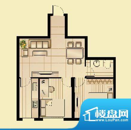 昆山林语B户型图 2室面积:69.50平米