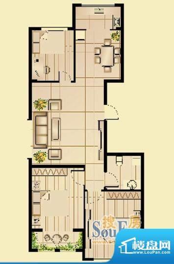 昆山林语E户型图 3室面积:110.70平米