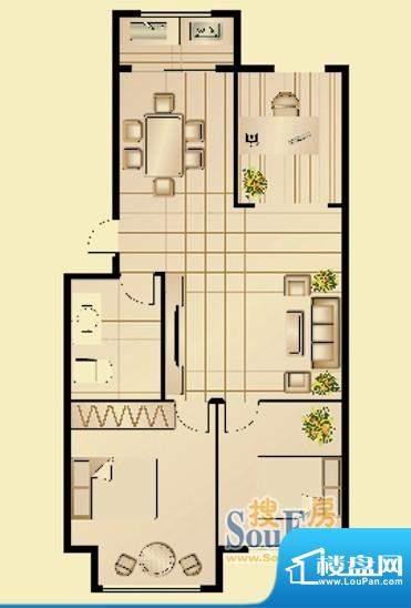 昆山林语G户型图 3室面积:105.30平米