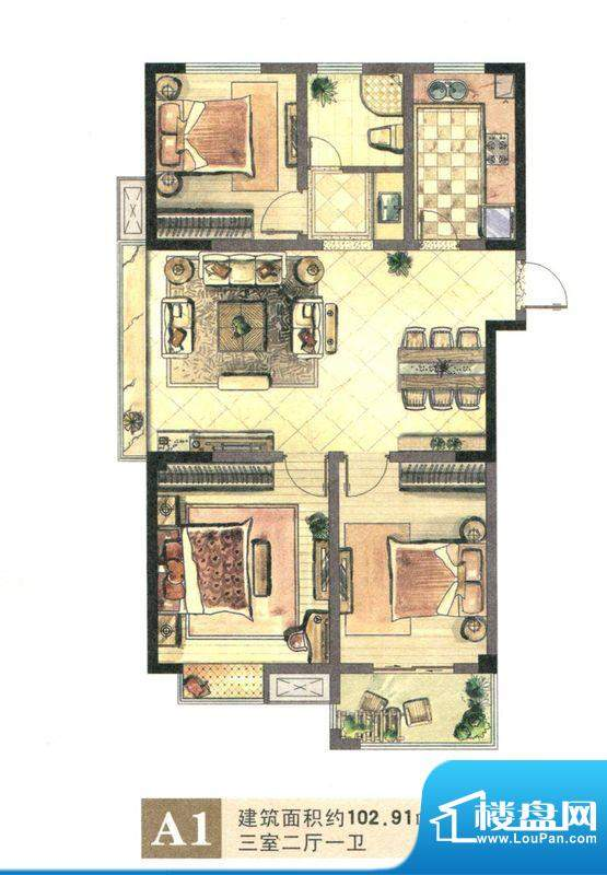 景城名郡A1户型 3室面积:102.91m平米