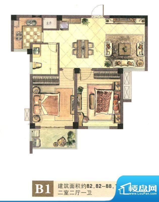 景城名郡B1户型 2室面积:82.82m平米