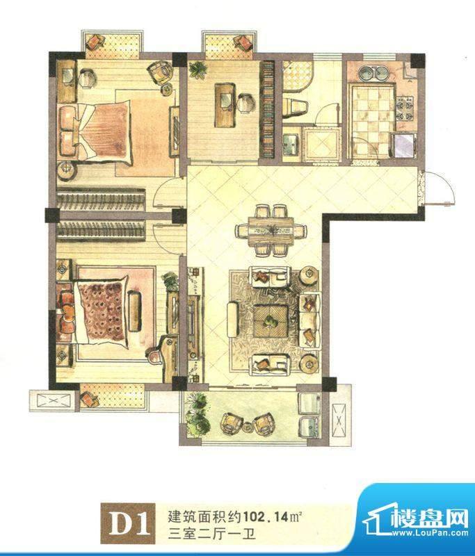 景城名郡D1户型 3室面积:102.14m平米