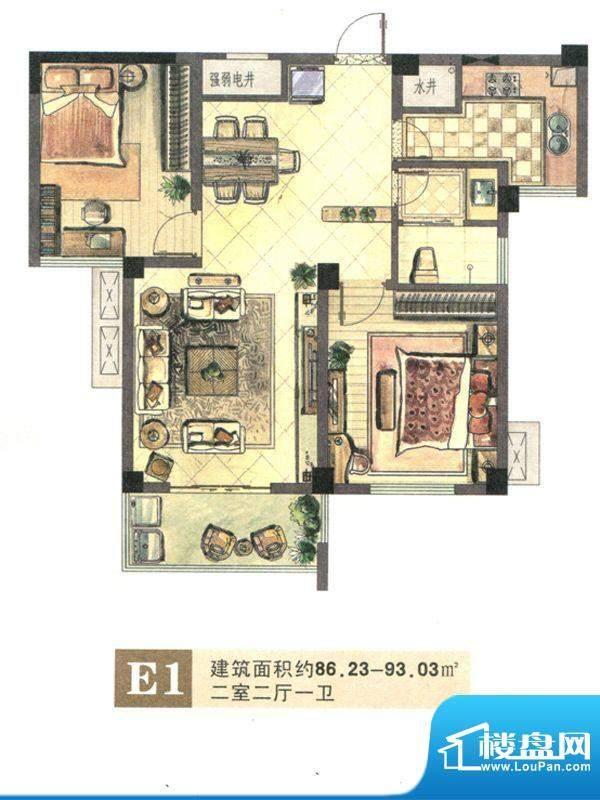 景城名郡E1户型 2室面积:86.23m平米