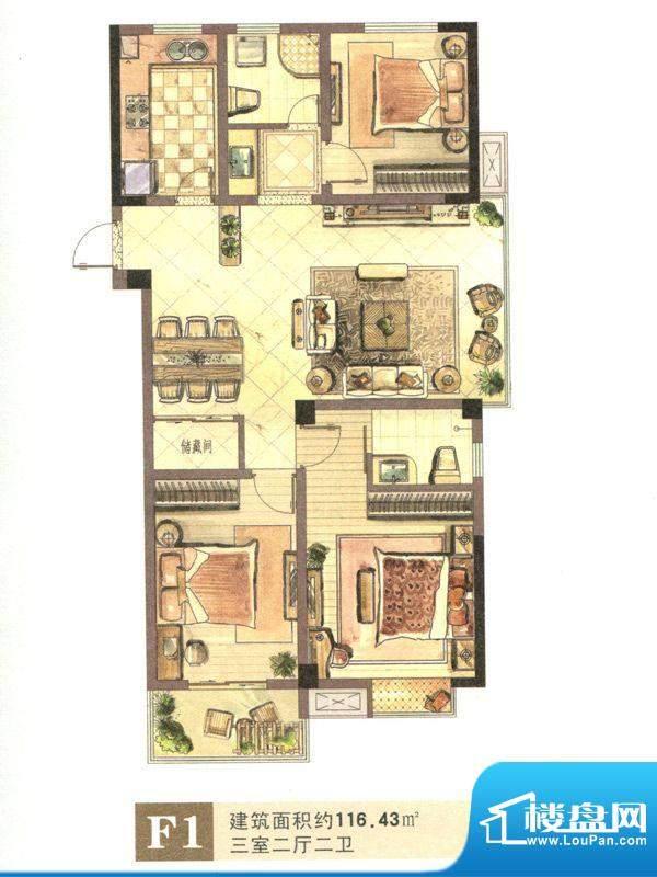景城名郡F1户型 3室面积:116.43m平米