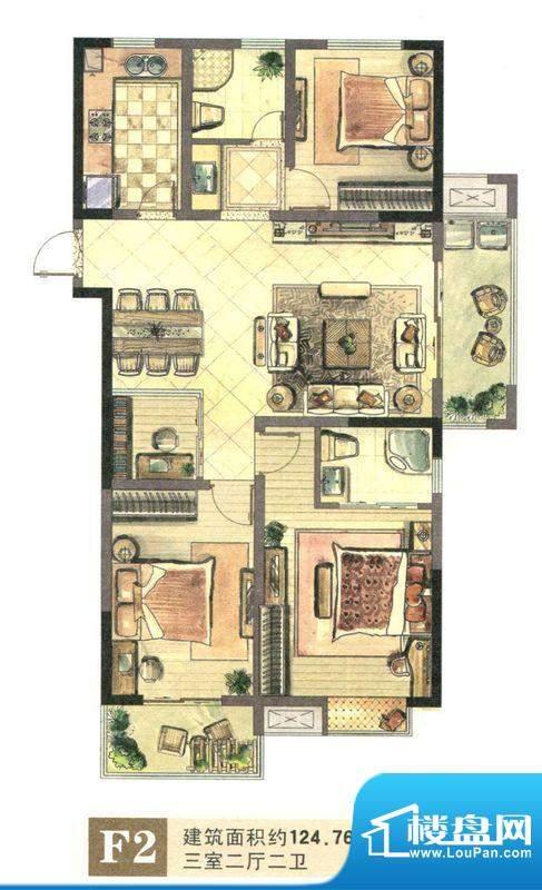 景城名郡F2户型 3室面积:124.76m平米