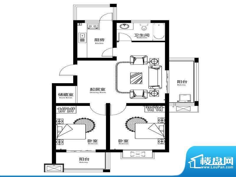 胊阳雅苑C1户型 2室面积:106.00m平米