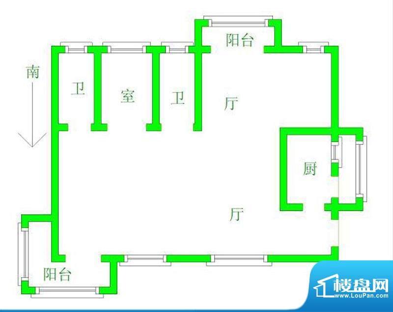 龙沐湾碧海花园一房面积:67.00平米