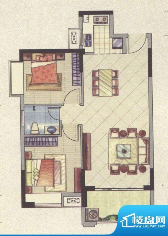 祥云豪庭5#B户型2室面积:79.59m平米
