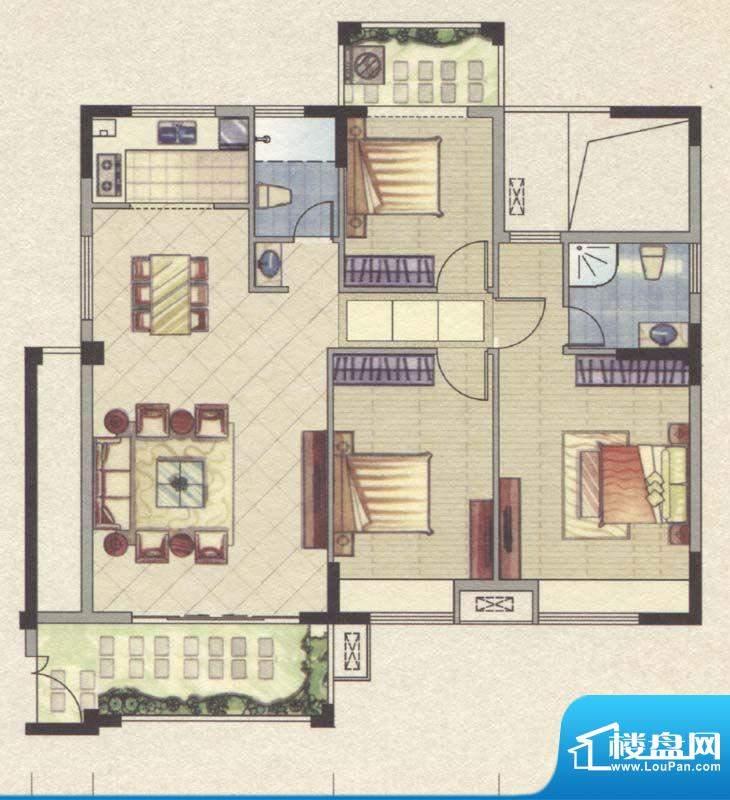 祥云豪庭4#C户型3室面积:117.00m平米