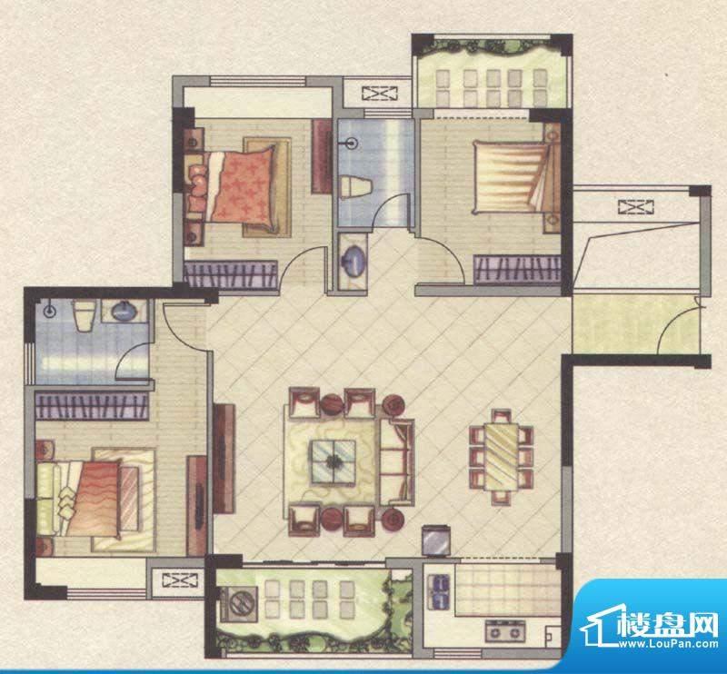 祥云豪庭5#A户型3室面积:108.79m平米