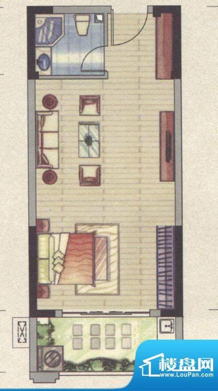 祥云豪庭3#单身公寓面积:44.09m平米