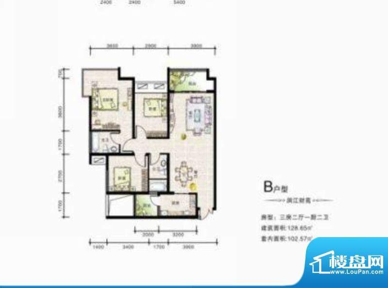 滨江星座B户型 3室2面积:128.65平米