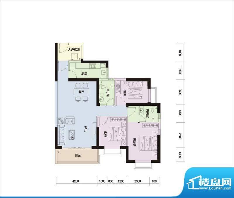 德信滨江绿都C户型图面积:107.79平米