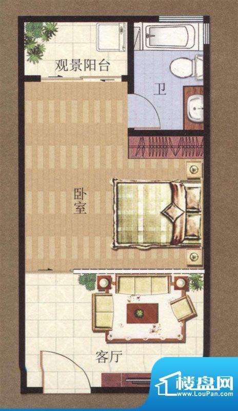 凯悦广场5#A户型1室面积:39.92m平米