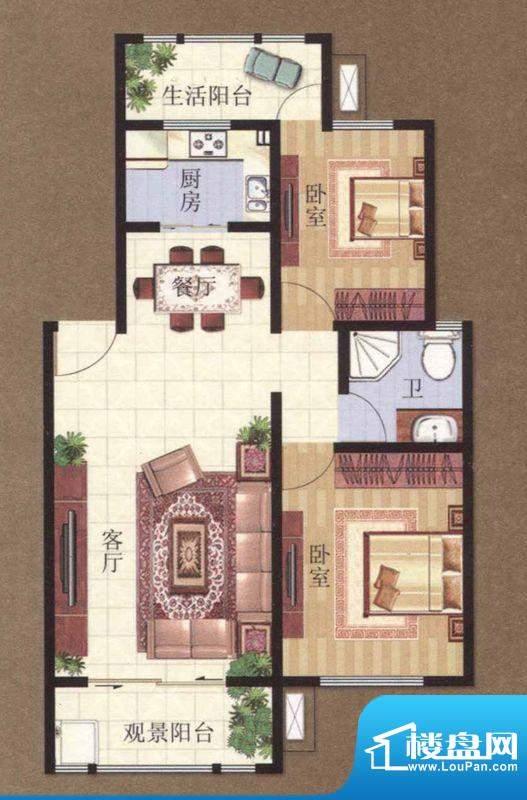 凯悦广场 2-4#B户型面积:79.41m平米