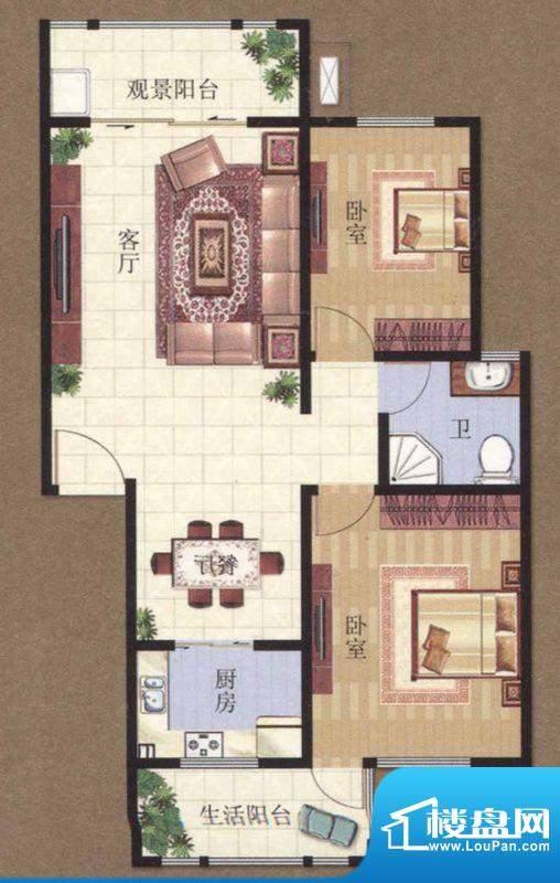 凯悦广场 1#B户型2室面积:78.97m平米