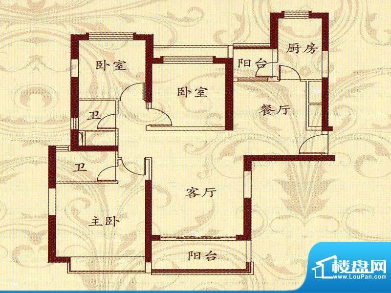 恒大名都2户型 3室2面积:132.70m平米