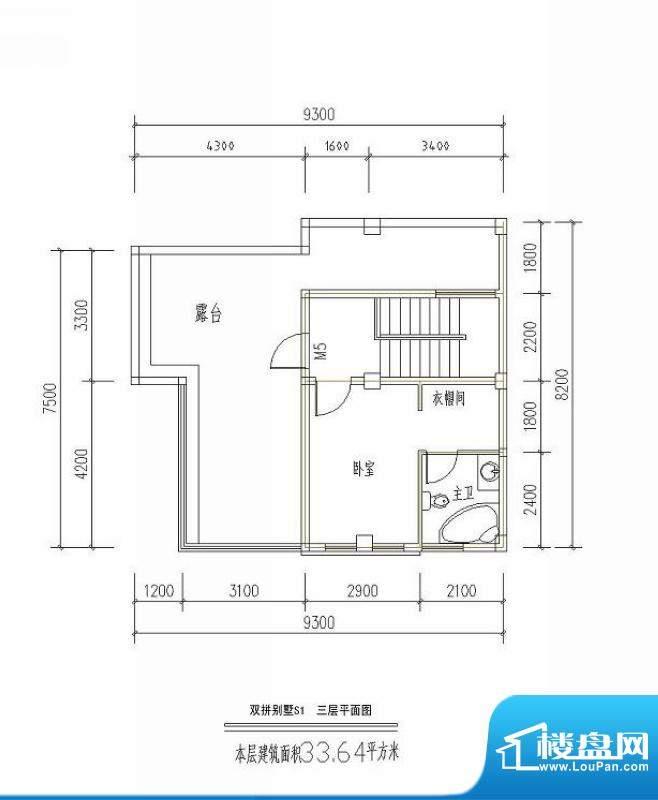 西海瑞园双拼别墅S1面积:33.64平米