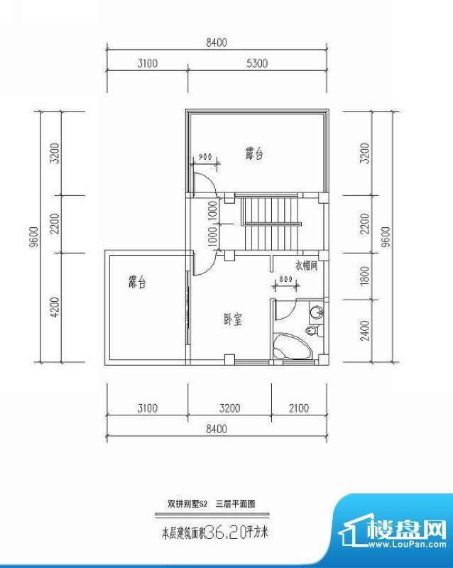 西海瑞园双拼别墅S2面积:36.20平米